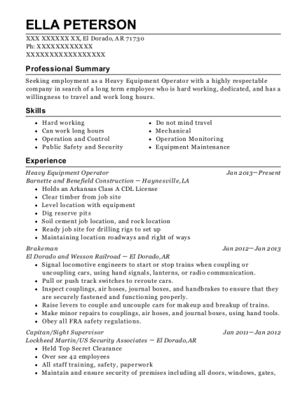 Heavy Equipment Operator resume template Arkansas