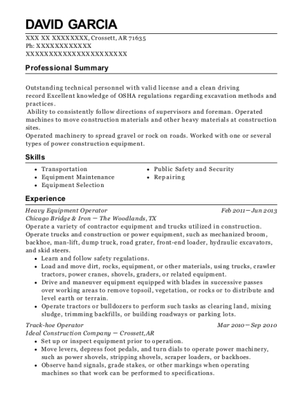 Heavy Equipment Operator resume sample Arkansas