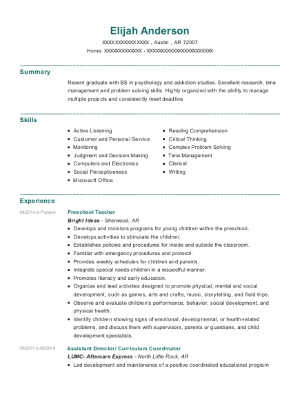 Preschool Teacher resume sample Arkansas