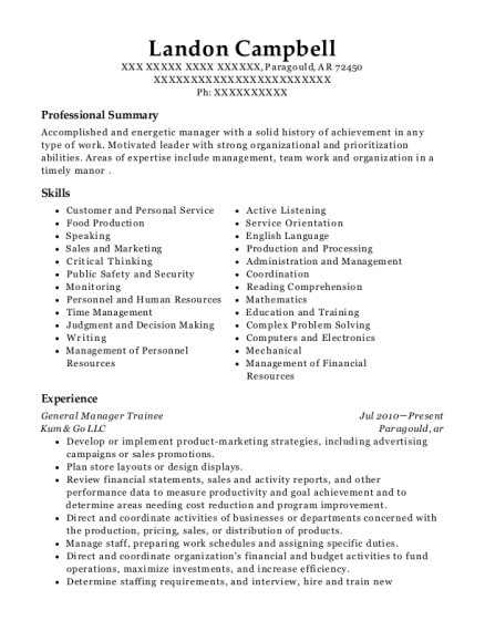 General Manager Trainee resume example Arkansas