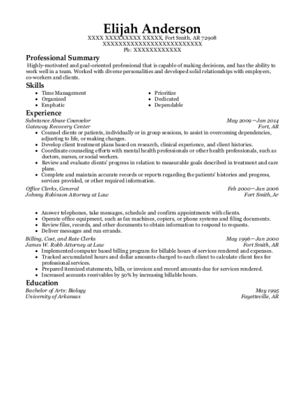 Substance Abuse Counselor resume example Arkansas