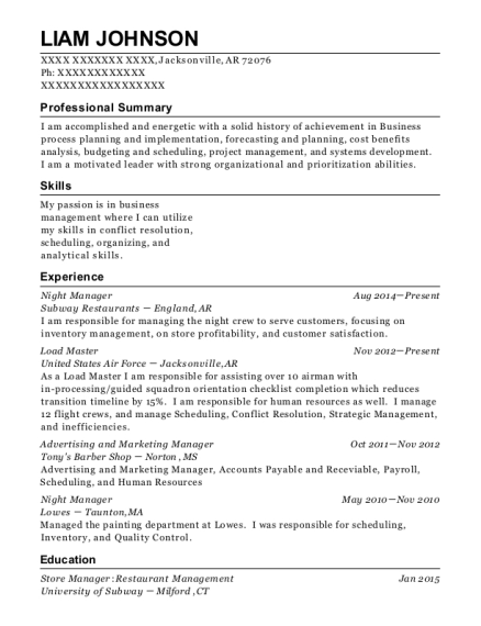 Night Manager resume template Arkansas