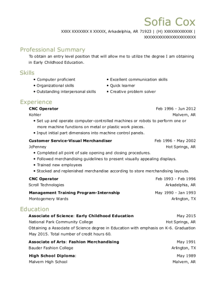 CNC Operator resume sample Arkansas