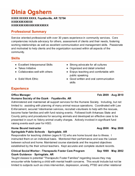 Office Manager resume format Arkansas
