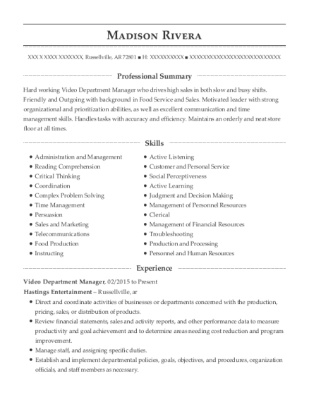 Video Department Manager resume format Arkansas