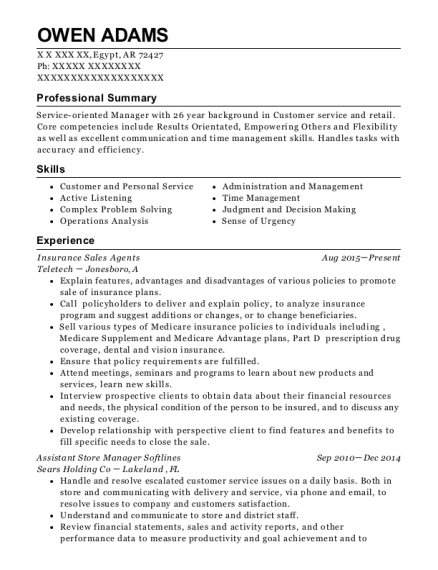 farmers insurance company insurance sales agent resume sample