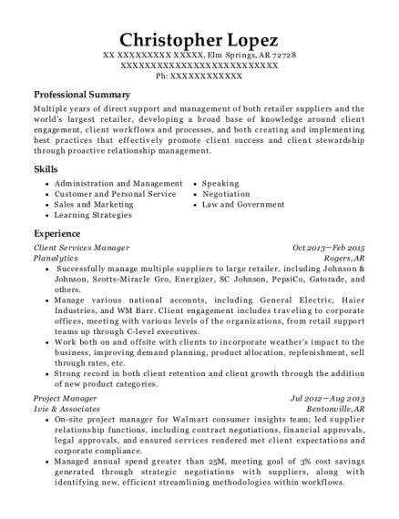 Client Services Manager resume template Arkansas
