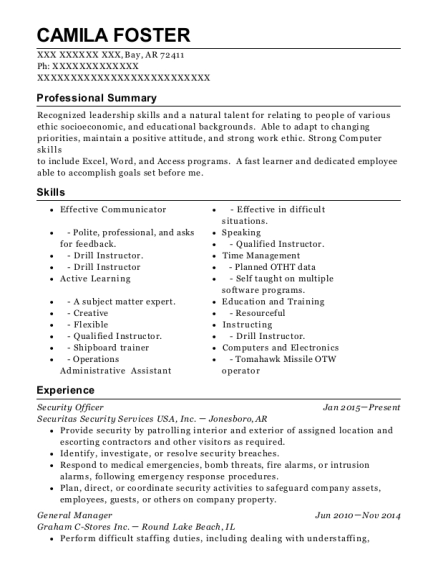 Security Officer resume template Arkansas