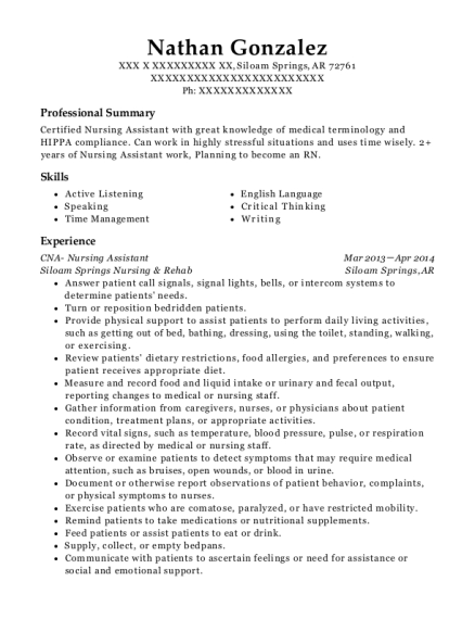 CNA Nursing Assistant resume example Arkansas