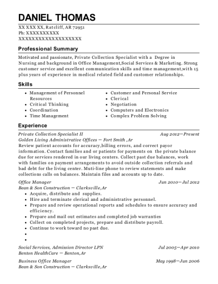 Private Collection Specialist II resume format Arkansas