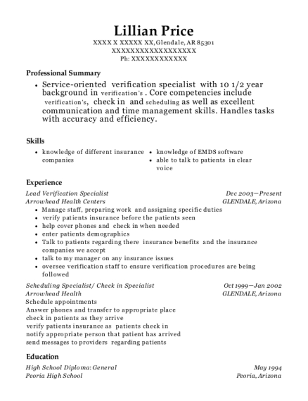 Lead Verification Specialist resume example Arkansas