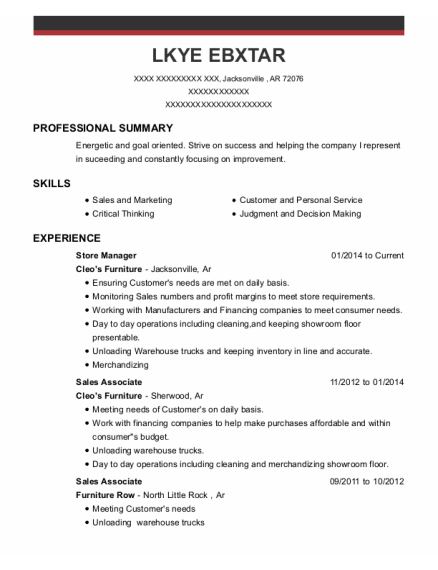 Store Manager resume example Arkansas