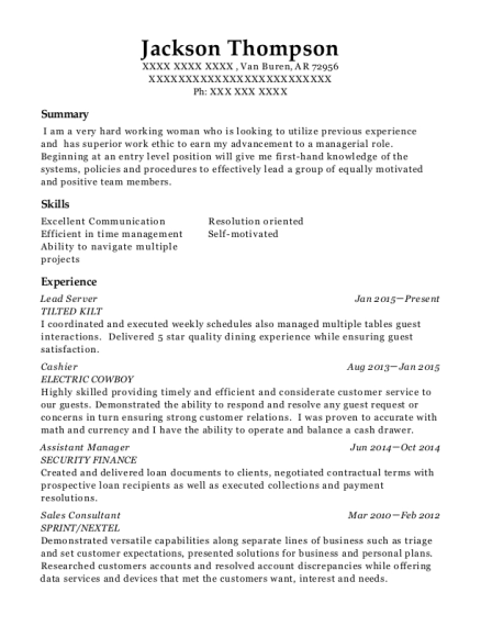 Lead Server resume example Arkansas