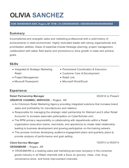 Retail Partnership Manager resume sample Arkansas