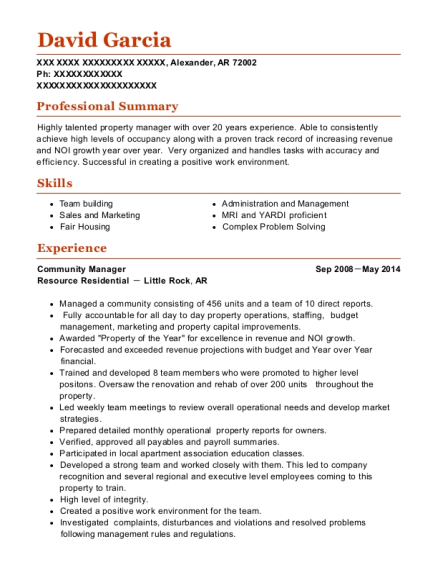 Community Manager resume example Arkansas