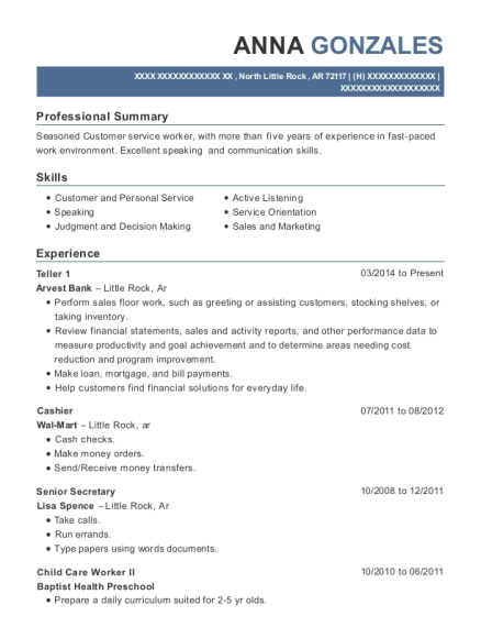 Teller 1 resume sample Arkansas