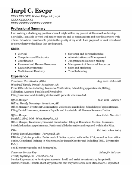 Treatment Coordinator resume sample Arkansas