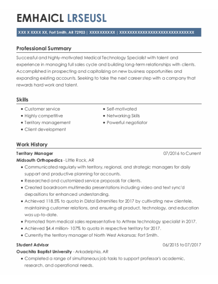 Territory Manager resume template Arkansas