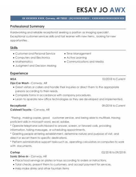 Receptionist resume template Arkansas