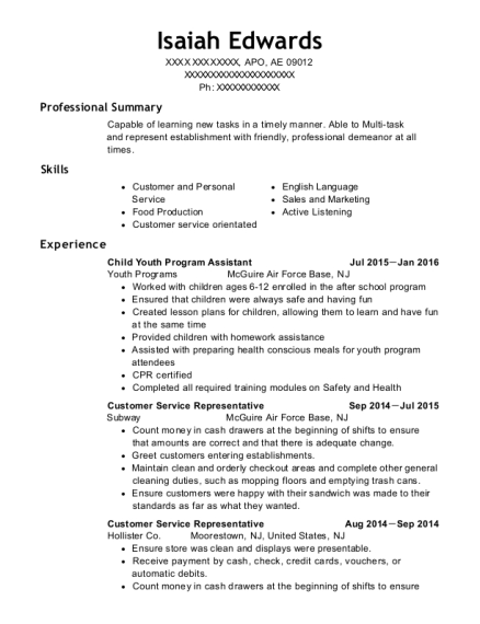 Child Youth Program Assistant resume example Armed Forces Africa