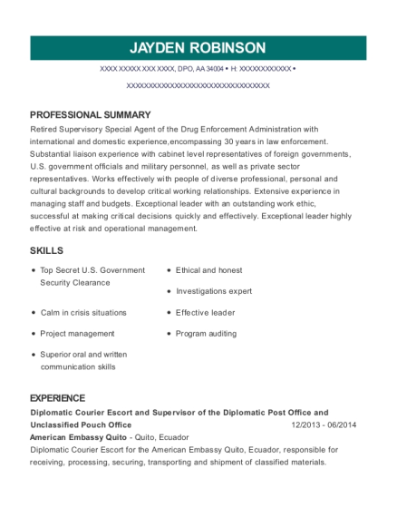 Diplomatic Courier Escort and Supervisor of the Diplomatic Post Office and Unclassified Pouch Office resume template Armed Forces Americas
