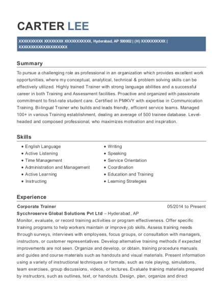 Corporate Trainer resume example Armed Forces Pacific