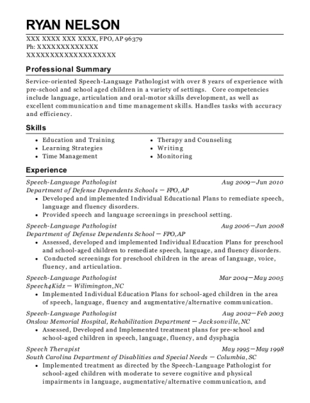 Speech Language Pathologist resume template Armed Forces Pacific