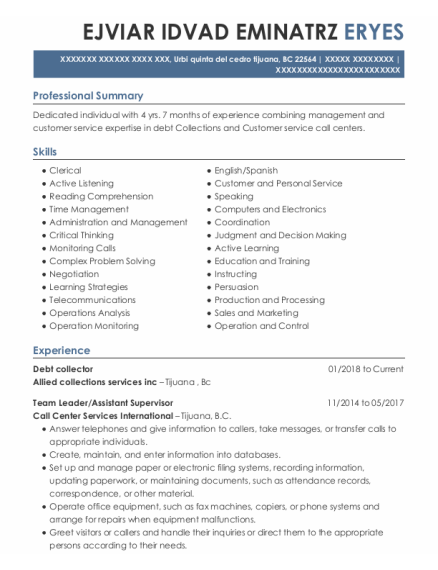 Debt Collector resume example BC