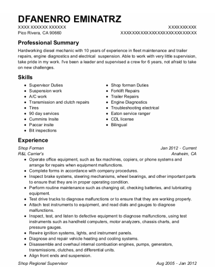 Shop Forman resume example California