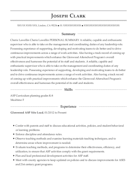 Glenwood ASP Site Lead resume format California