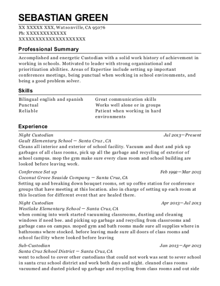Night Custodian resume format California