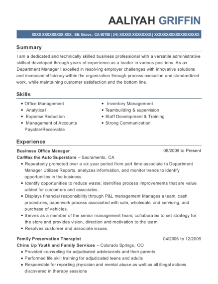 Business Office Manager resume template California