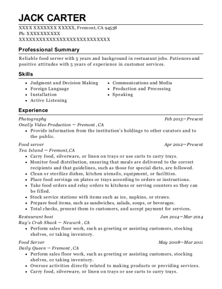 Photography resume format California