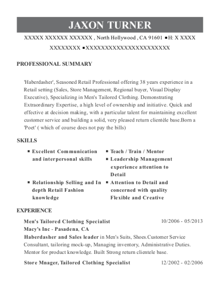 Mens Tailored Clothing Specialist resume format California