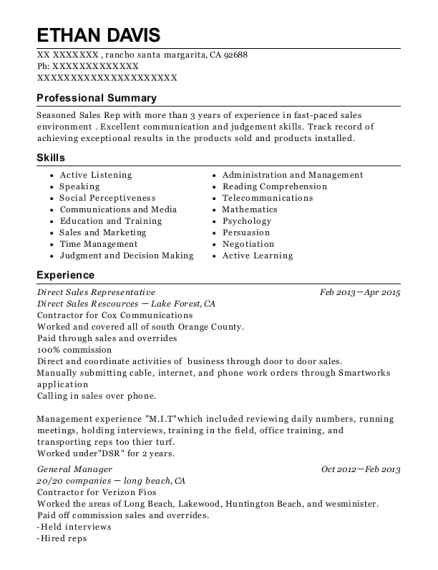 Direct Sales Representative resume sample California