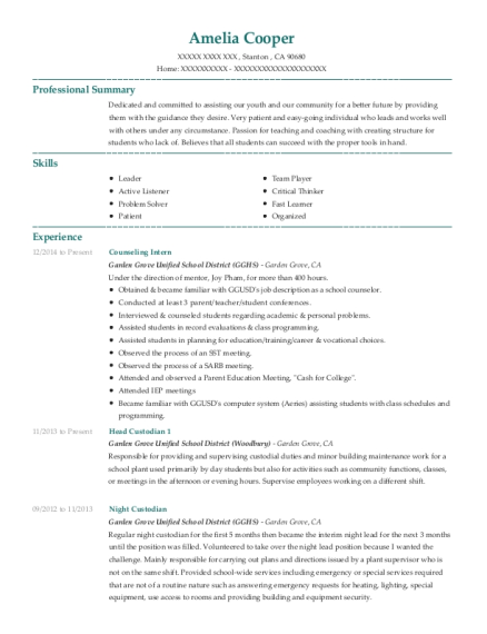 Counseling Intern resume sample California