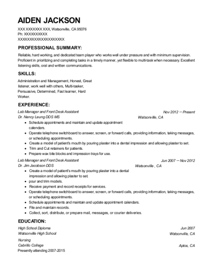 Lab Manager and Front Desk Assistant resume format California