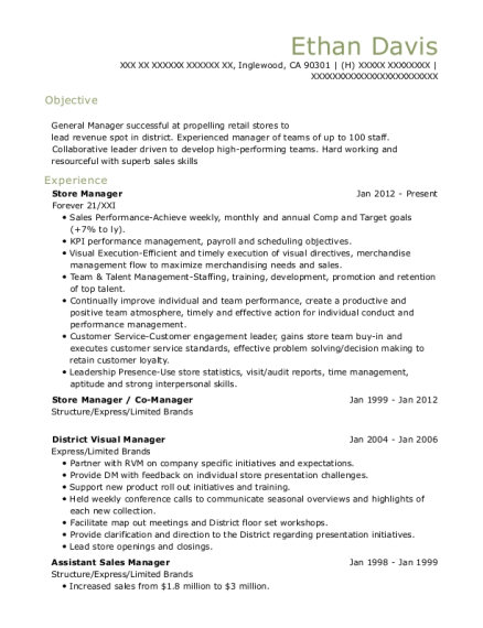 Store Manager resume example California