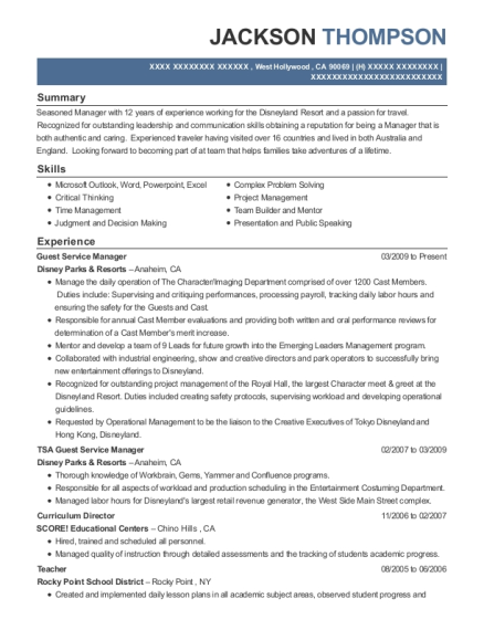 Guest Service Manager resume sample California
