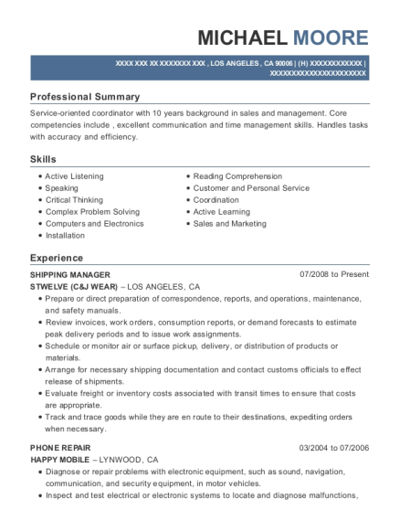 Shipping Manager resume sample California