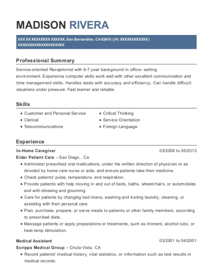 In Home Caregiver resume format California