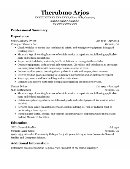 Route Delivery Driver resume sample California