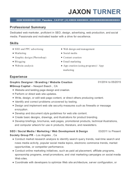 Graphic Designer resume sample California