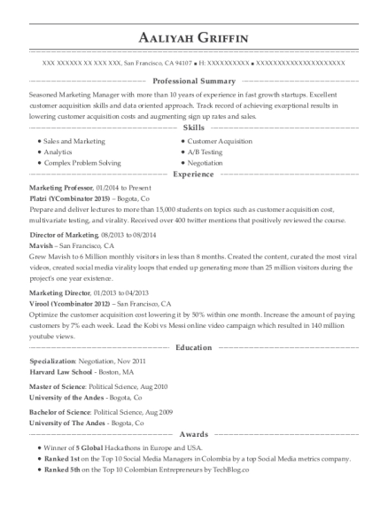 Marketing Professor resume sample California