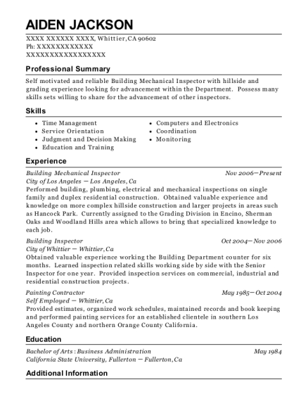 Building Mechanical Inspector resume sample California