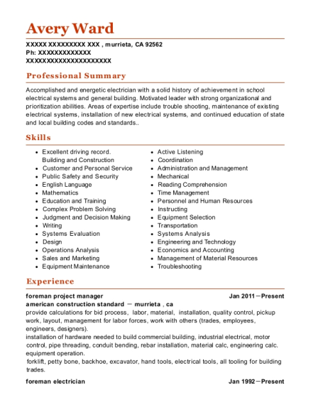 foreman project manager resume sample California