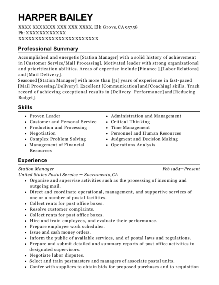 Station Manager resume format California