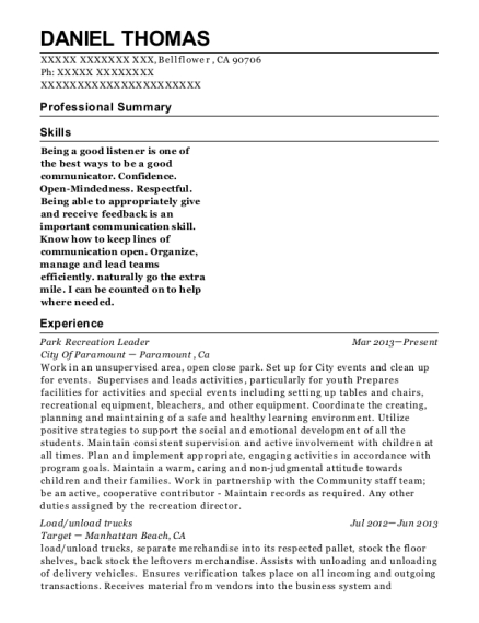 Park Recreation Leader resume example California