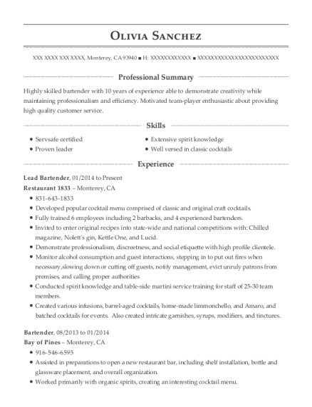 Lead Bartender resume format California