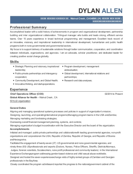 Chief Operations Officer resume example California